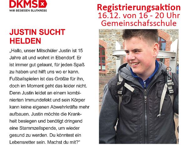 Helden für Justin - Registrierungsaktion an der Gemeinschaftsschule in Barleben